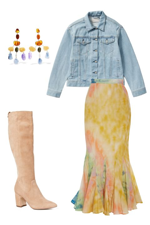 Clothing, Yellow, Denim, Jeans, Fashion, Footwear, Textile, Outerwear, Fashion illustration, Sleeve,