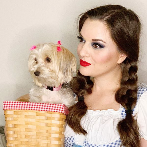 tiffany ascensio in dorothy costume with dog