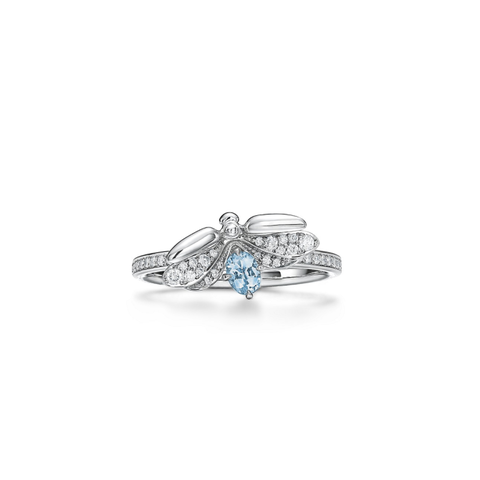 tiffany  co diamond and aquamarine firefly ring in platinum