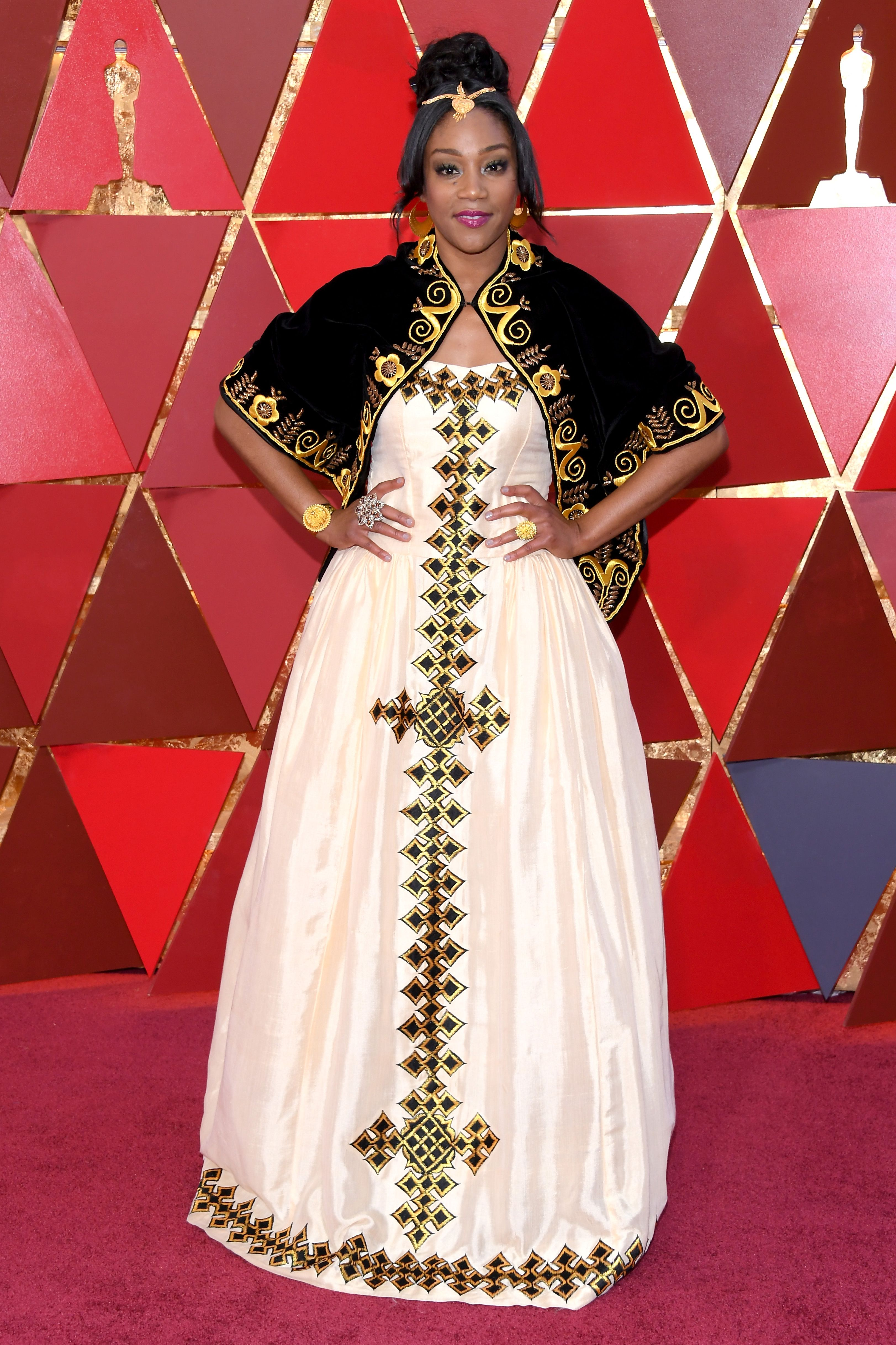 Tiffany Haddish, 2018 Tiffany Haddish's gorgeous gown was a tribute to the African country of Eritrea , where her father was from (he'd passed away the previous year). We're not crying, you're crying.