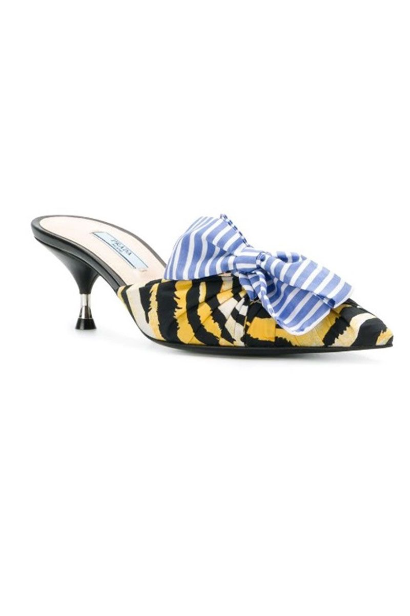 Tiger print kitten heelmules with blue bow