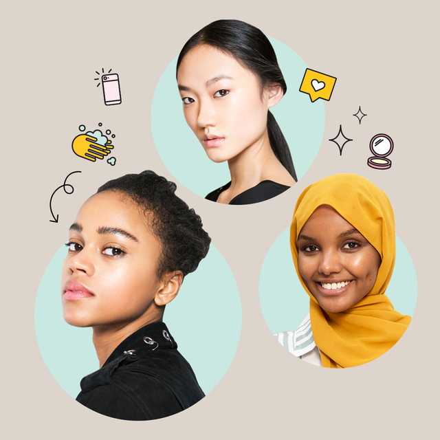 tiktok makeup hacks   photo description of three women with clear, bright skin