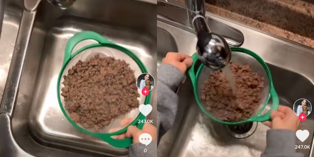 tiktok of someone rinsing ground beef is going viral