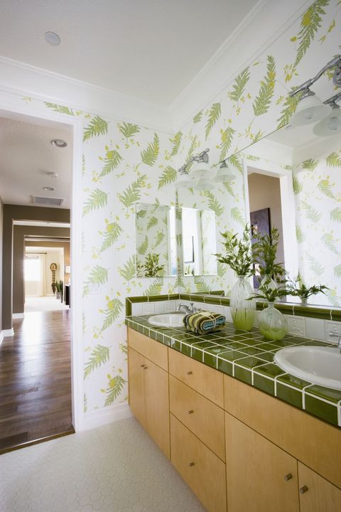 green, room, interior design, property, tile, wall, ceiling, bathroom, floor, yellow,