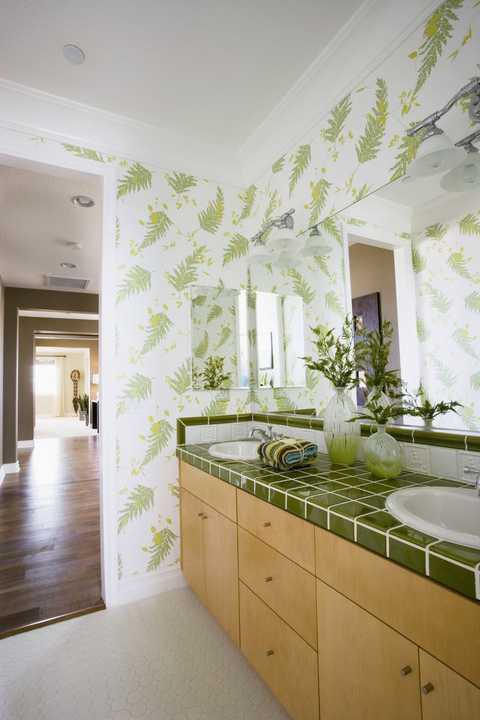 Green, Room, Interior design, Property, Tile, Wall, Ceiling, Bathroom, Floor, Yellow,