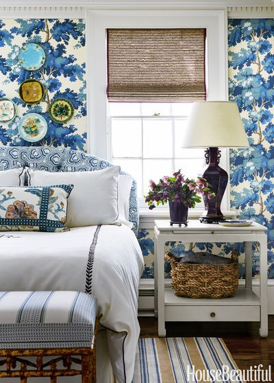 tilton fenwick blue floral bedroom