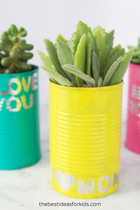 tin can planters mothers day crafts from kids