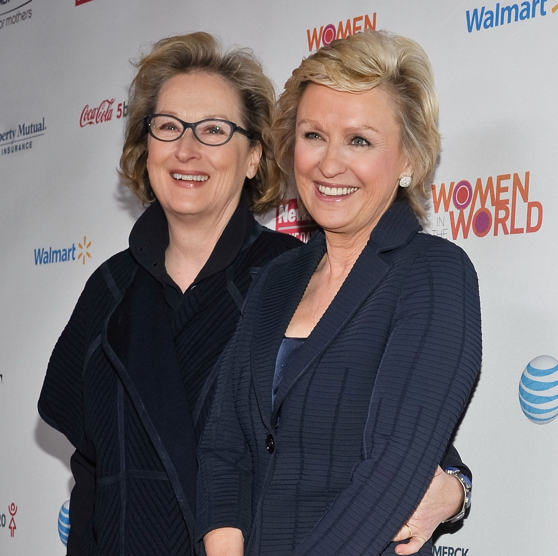 Brown (right) with Meryl Streep at 2013's Women in the World summit.