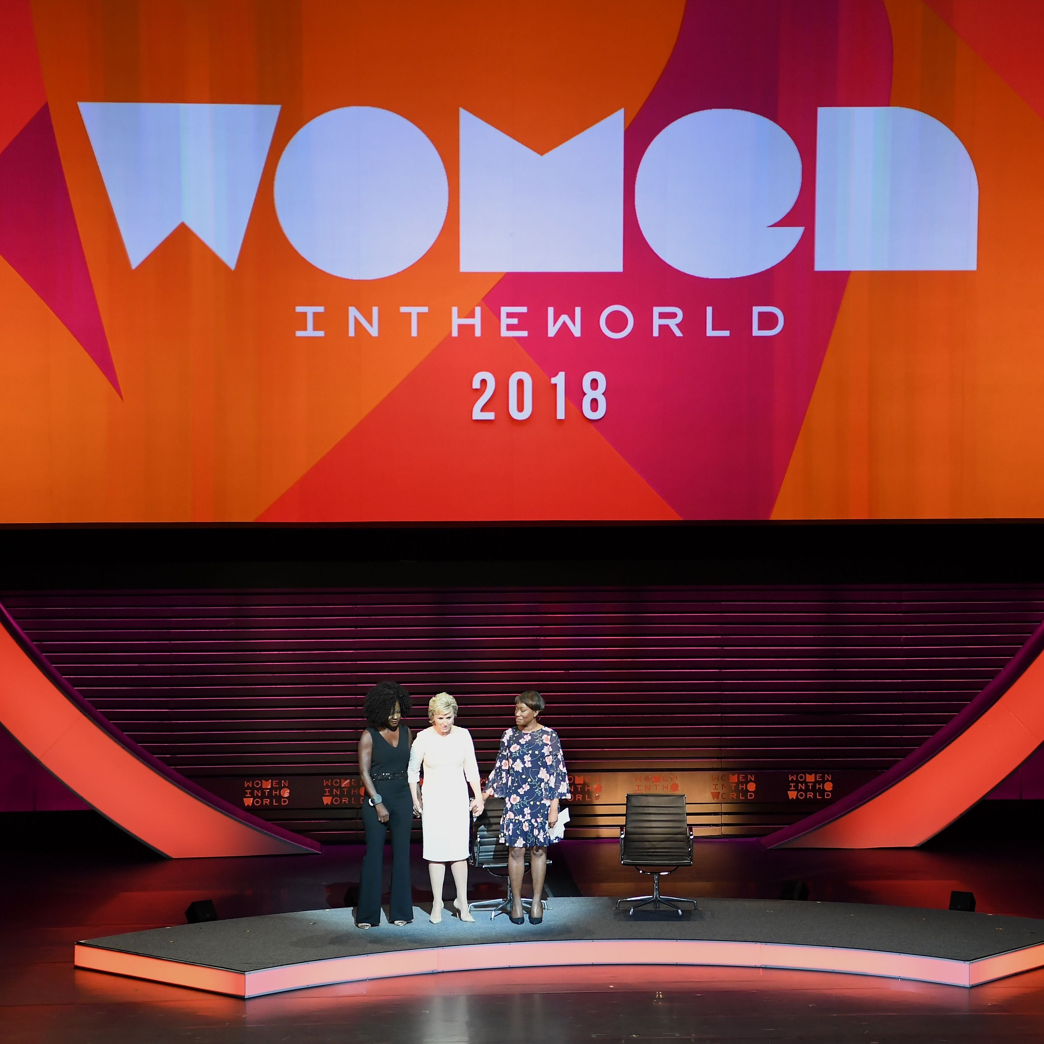 Brown with Viola Davis and Joy-Ann Reid at last year's summit.