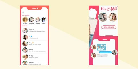 Tinder screen example user interface