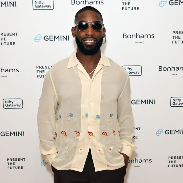 london, england   july 21 tinie tempah attends a private dinner to celebrate the first nft residency, 'present the future', on july 21, 2021 in london, england the residency program collaborates music with traditional art  digital art, curated by kamiar maleki photo by david m benettdave benettgetty images for kamiar maleki