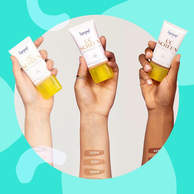 hands holding supergoop tinted sunscreen