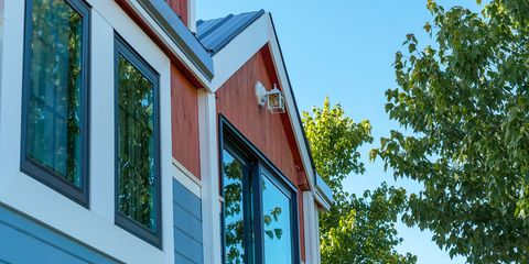 Home, House, Blue, Property, Siding, Architecture, Daytime, Building, Real estate, Window,