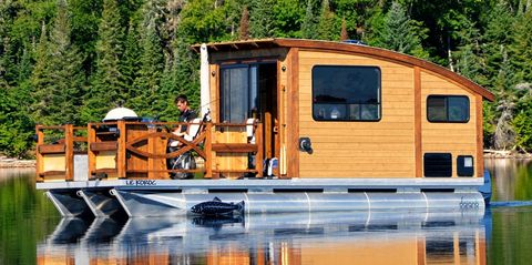 Vehicle, Travel trailer, Water transportation, RV, Home, Tree, Boat, Trailer, House, Leisure,