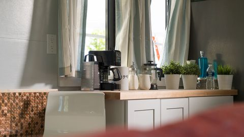 Room, Property, Interior design, Countertop, Furniture, Kitchen, Home, Curtain, Table, Architecture,