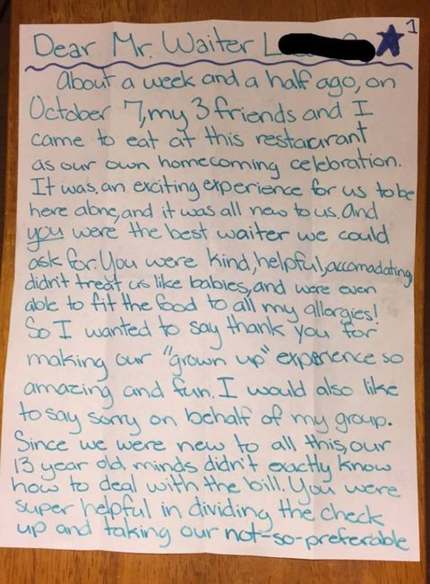 Teenagers Wrote The Sweetest Apology After Leaving A Waiter 3 Tip