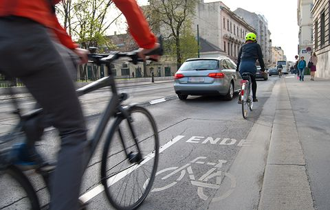 Cars and cyclists.