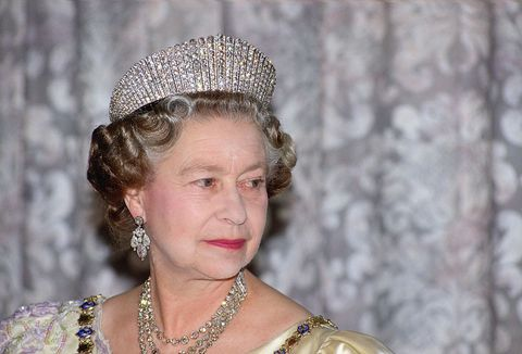 reykjavik, iceland   june 25  queen elizabeth ii wears the russian fringe diamond tiara whilst attending a state banquet in reykjavik, iceland  photo by tim graham photo library via getty images
