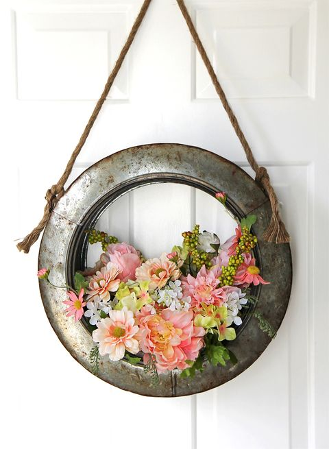 diy tire and flower wreath easter decoration
