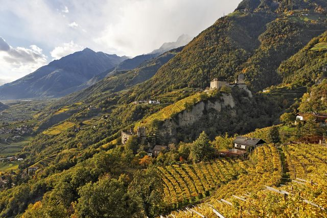 tirol castle viewed from village of tyrol, near meran, south tyrol, italy