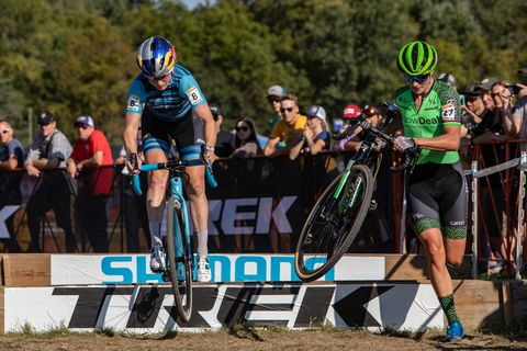 Cycle sport, Vehicle, Sports, Cycling, Cyclo-cross bicycle, Bicycle, Bicycle clothing, Cyclo-cross, Cross-country cycling, Bicycle helmet,