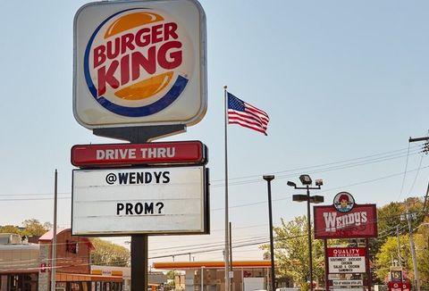 Signage, Fast food restaurant, Fast food, Sign, Advertising, Display advertising, Building, Billboard, Business, Filling station,