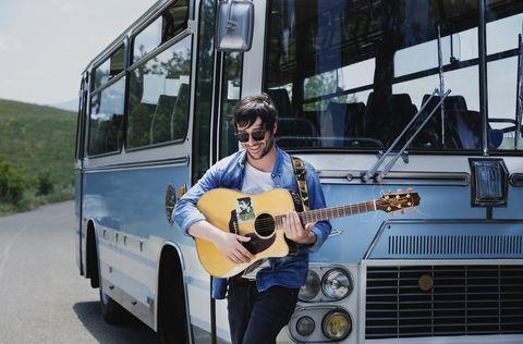 Bus, Vehicle, Transport, Motor vehicle, Car, Mode of transport, Musician, Public transport, Subcompact car, Street performance,