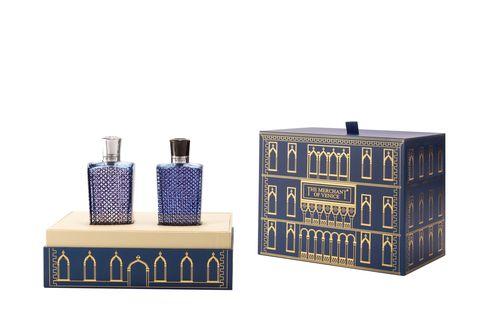 Cobalt blue, Product, Violet, Furniture, Rectangle, Perfume, Table, Room, Electric blue, Shelf,