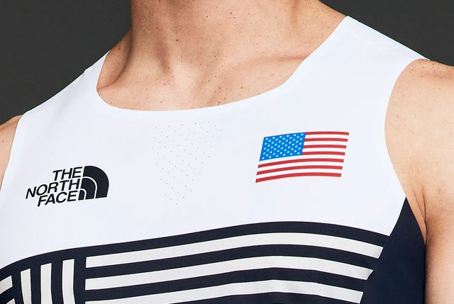a close up of the north faces olympic climbing uniform