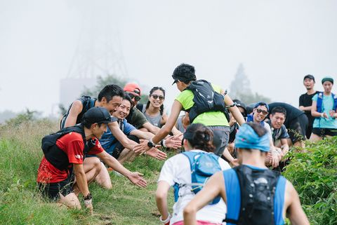 Social group, Recreation, Mammal, Leisure, Outdoor recreation, People in nature, Youth, Friendship, Team, Backpack,