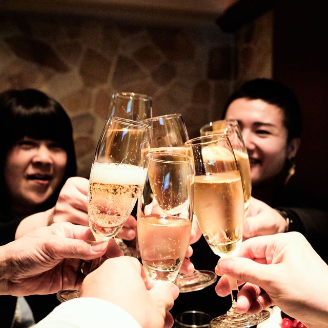 toast  birthday party with champagne