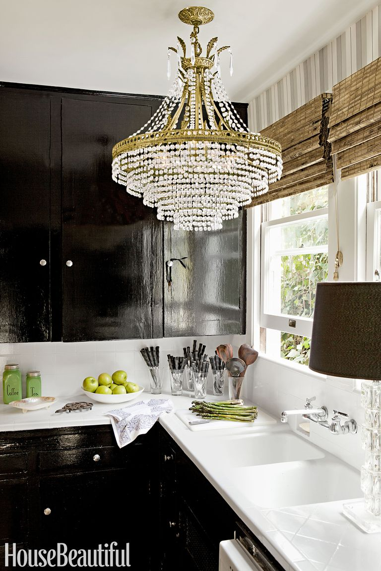 10 black kitchen cabinet ideas black cabinetry and cupboards for Best brand of paint for kitchen cabinets with wall art chandelier