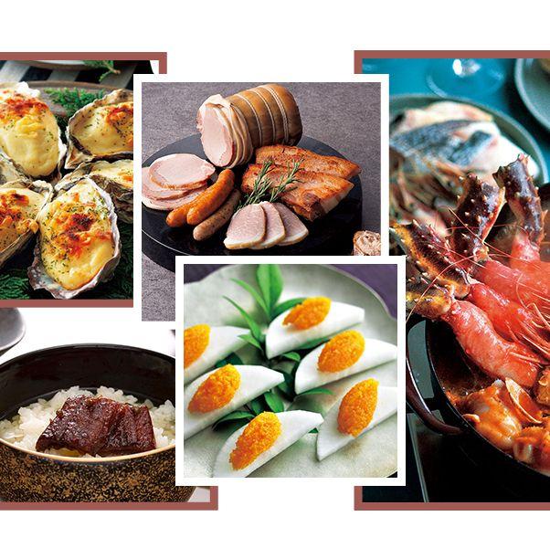 お取り寄せできる、生からすみ、ハムとウィンナー、うなぎの佃煮、海鮮ブイヤベース鍋の組み合わせ画像