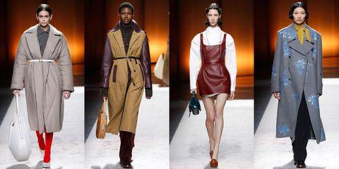 Fashion model, Fashion, Clothing, Coat, Overcoat, Runway, Fashion design, Outerwear, Fashion show, Trench coat,