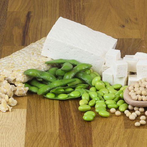 soy beans, tofu, tempeh, edamame on wood