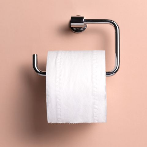 Toilet roll holder with copy space