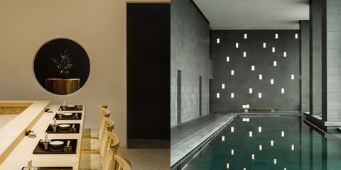 Wall, Interior design, Room, Architecture, Tile, Design, Ceiling, Furniture, Floor, Building,