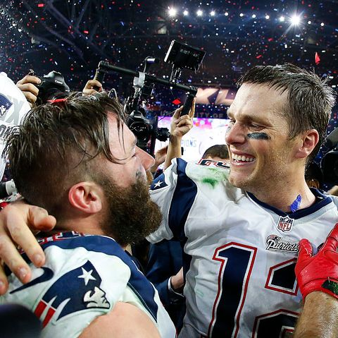 glendale, az   february 01  tom brady 12 and  julian edelman 11 of the new england patriots celebrate after defeating the seattle seahawks 28 24 to win super bowl xlix at university of phoenix stadium on february 1, 2015 in glendale, arizona  photo by tom penningtongetty images