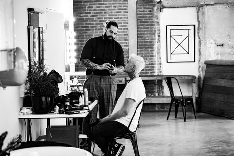 Black-and-white, Barber, Sitting, Monochrome, Room, Chair, Photography, Monochrome photography, Furniture, Style,