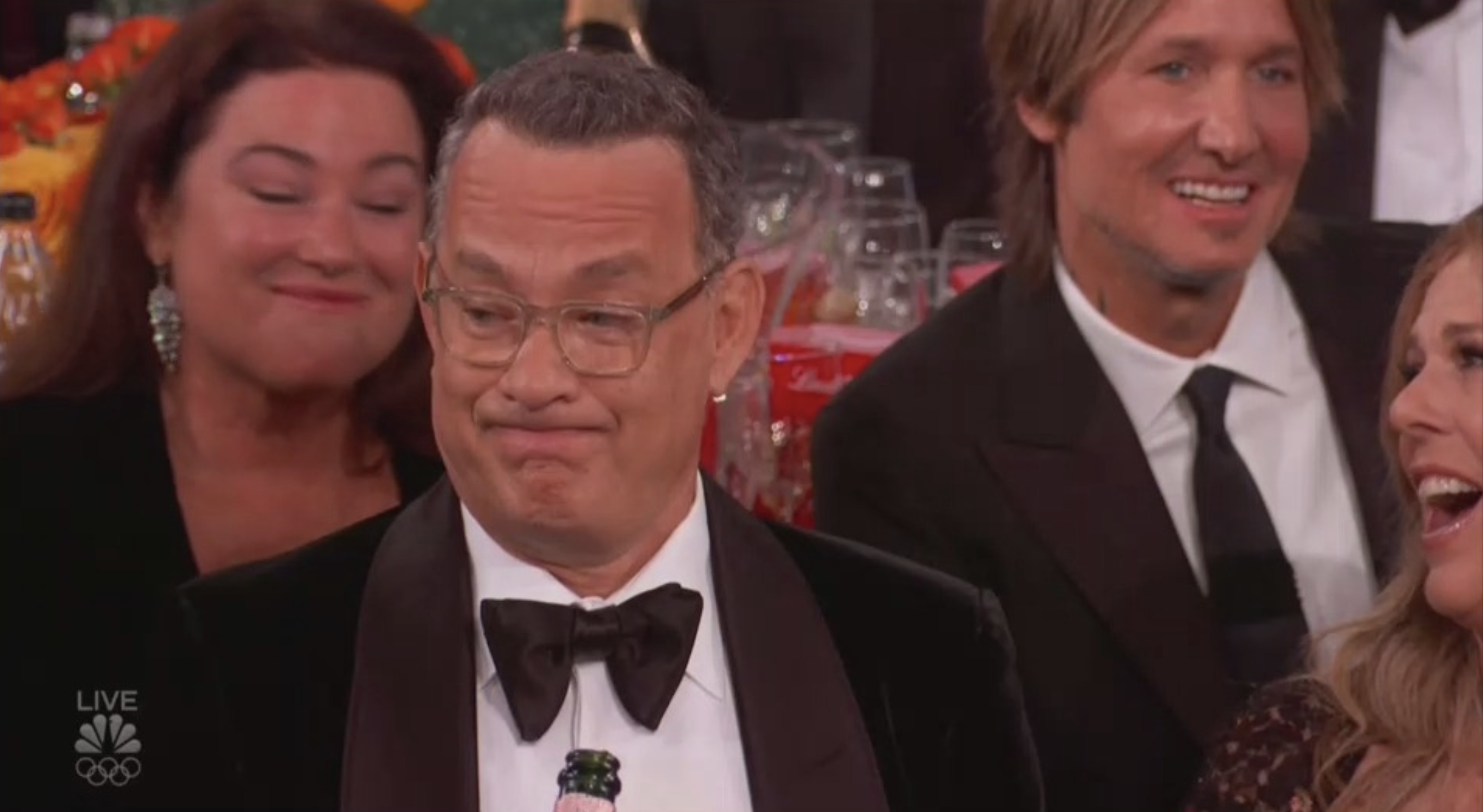 Tom Hanks' hilarious facial expression is the real winner of the Golden Globes