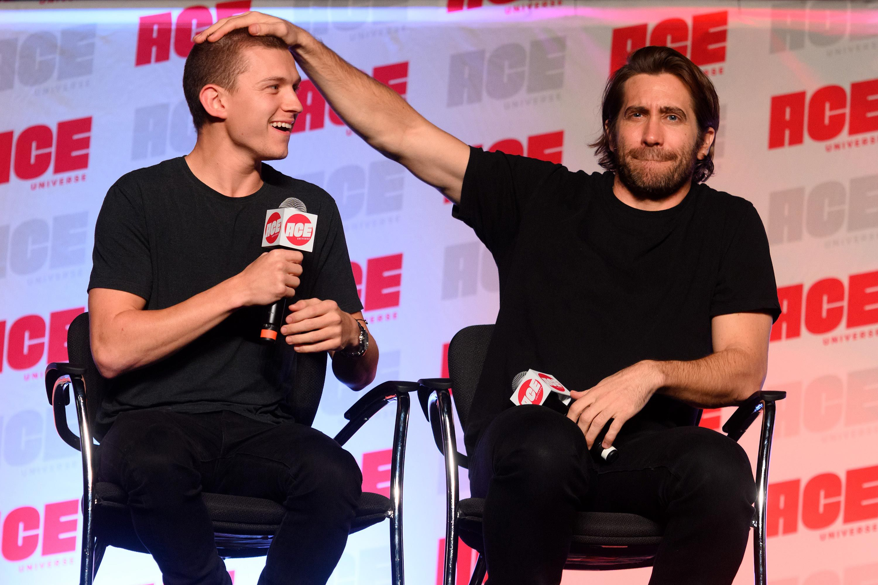 Marvel's Tom Holland shows off new buzzcut at fan event with Jake Gyllenhaal