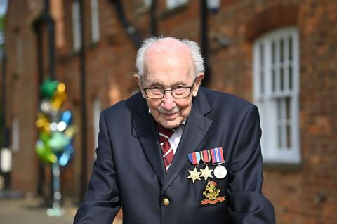 british world war ii veteran captain tom moore, 99, poses doing a lap of his garden in the village of marston moretaine, 50 miles north of london, on april 16, 2020   a 99 year old british world war ii veteran captain tom moore on april 16 completed 100 laps of his garden in a fundraising challenge for healthcare staff that has captured the heart of the nation, raising more than £13 million 162 million, 149 million euros incredible and now words fail me, captain moore said, after finishing the laps of his 25 metre 82 foot garden with his walking frame photo by justin tallis  afp photo by justin tallisafp via getty images