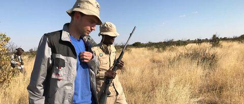 Meteorite expert Tomas Kohout (left) and gamekeeper Kegilwe Mogotsi in Botswana's Central Kalahari Game Reserve.