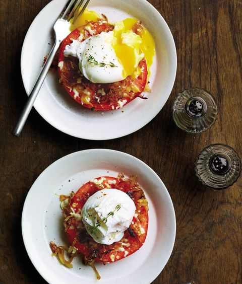 whole 30 breakfast recipes: tomato and egg stacks