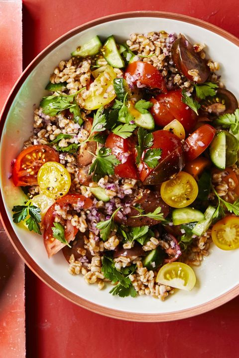 bbq side dishes -tomato and cucumber farro salad