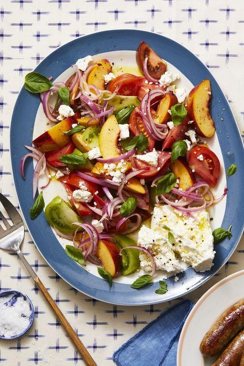 tomato, peach, and basil salad
