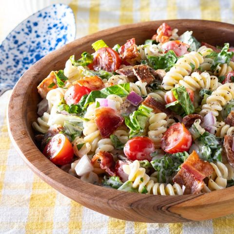 blt pasta salad in wood bowl