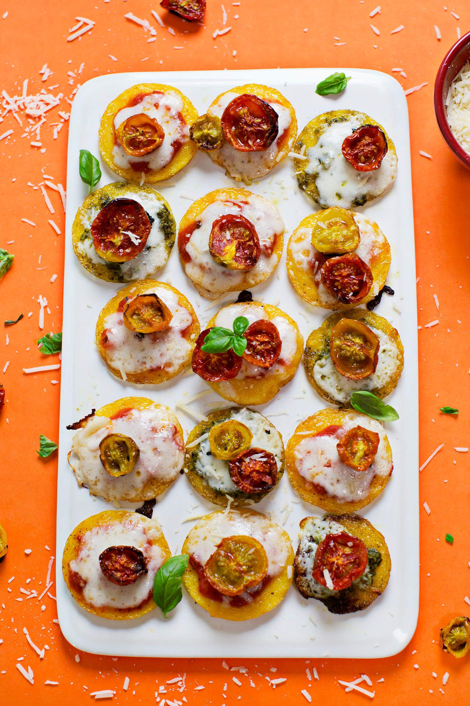 mini polenta pizzas with oven roasted tomatoes