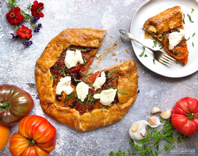 tomato galette on a plate