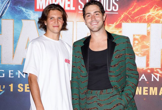 """milan, italy   august 31 l rtommaso zorzi and tommaso stanzani attend the """"shang chi and the legend of the ten rings"""" photocall at the space cinema odeon on august 31, 2021 in milan, italy photo by rosdiana ciaravologetty images"""